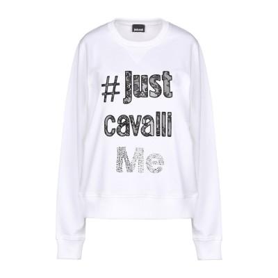 ジャストカヴァリ JUST CAVALLI スウェットシャツ ホワイト M 100% コットン ポリエステル スウェットシャツ