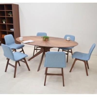 幅182cm ダイニングセット 楕円テーブル 7点 sbkt182-7-pani339wn 光線張り ウォールナット BL色 オーバル ファブリック 34s-8k so