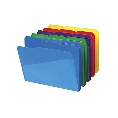 30 per Box Assortment. - Smead Poly File Folder with Slash Pocket 1/3-Cut T