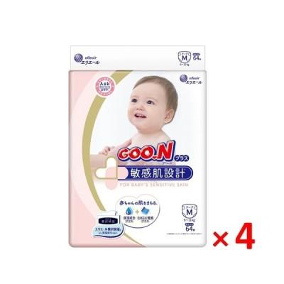 グーンプラス 敏感肌設計 テープ Mサイズ 64枚入×4個セット /グーンプラス おむつ・オムツ テープ ベビー (毎)