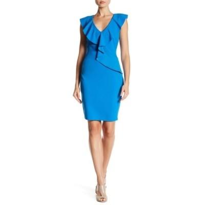 アレクシアアドマー レディース ワンピース トップス Asymmetric Ruffle Sheath Dress (Regular & Plus Size) AZURE BLUE