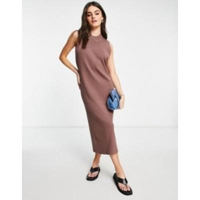 エイソス レディース ワンピース トップス ASOS DESIGN sleeveless midi rib dress in brown Brown