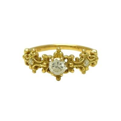 リング 指輪 K18(ゴールド) ダイヤモンド0.56/0.04ct 【実寸】12号 中古 仕上げ済み 送料無料 質屋出品