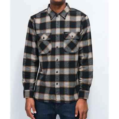 ブリクストン BRIXTON メンズ シャツ フランネルシャツ トップス Brixton Bowery Black & Cream Flannel Shirt Black