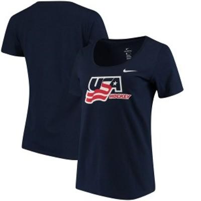 ナイキ レディース Tシャツ トップス US Hockey Nike Women's Scoop Neck T-Shirt Navy