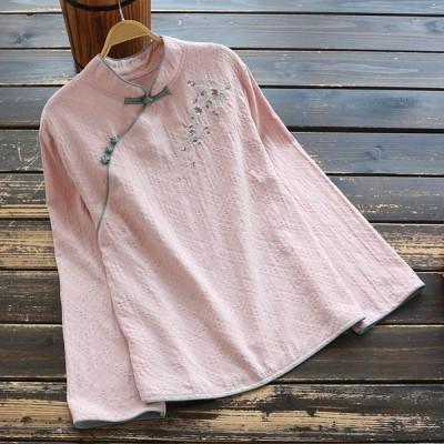 森ガール 長袖 シャツ ブラウス チャイナカラー 花柄 刺繍 レディース