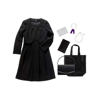 (マーガレット)marguerite m426 ブラックフォーマル レディース 喪服 礼服 7点セット バッグ ネックレス(ブラック 11 号)