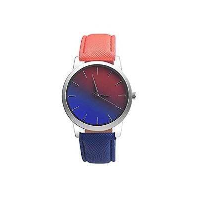 【新品・送料無料】レディース レトロ レインボー デザイン 腕時計 バラキー グラデーション PU レザー チェック バンド アナログ クォーツ ウォッチ -A153
