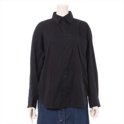 バレンシアガ 18SS コットン×ナイロン シャツ 34 メンズ ブラック  ロゴ刺繍