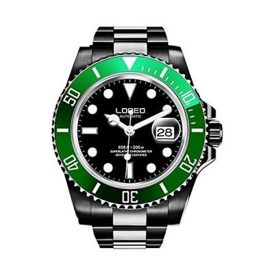Carlien Mens GMT Stainless Steel Sapphire Glass Rotating Bezel Men's Automatic Watch (Black&Green) 並行輸入品