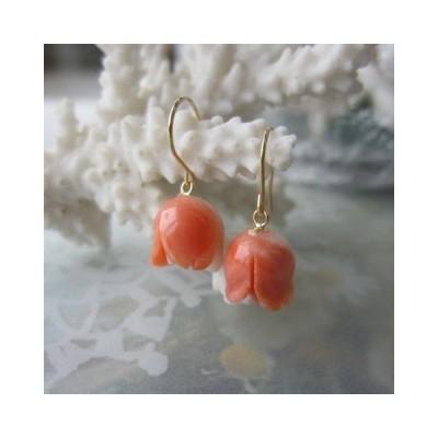 桃珊瑚バラのつぼみのフックピアス/K18/『宝石サンゴ』