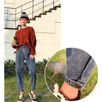 デニムパンツレディースボーイフレンドデニムデニム九分丈ボトムスジーパン腰可調整裾可調整大きいサイズ