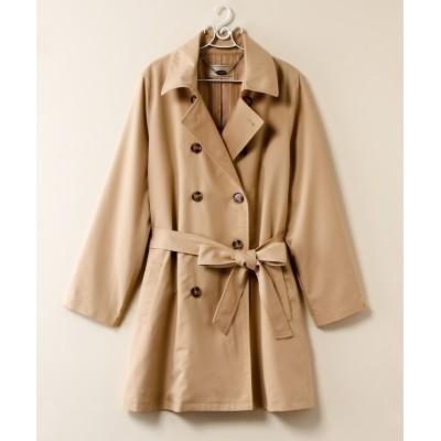 【大きいサイズ】 裏地ストライプトレンチコート コート, plus size coat