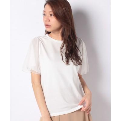 【アクシーズファム】 チュール袖Tシャツ レディース ホワイト M axes femme