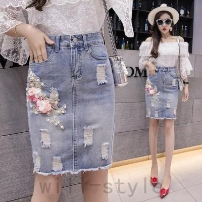 デニムスカート花刺繍ビーズ韓国オルチャンタイトミニストリートジーンズきれいめ原宿系ダメージボトムス