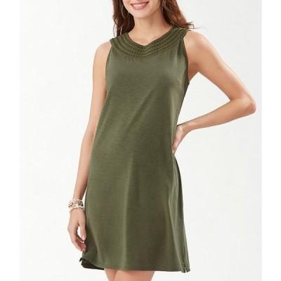トッミーバハマ レディース ワンピース トップス Pearl Embroidered Sleeveless Cotton Blend Shift Dress