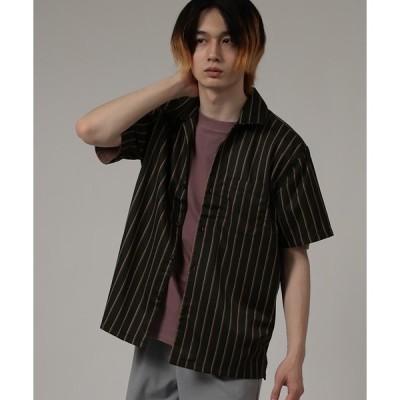 シャツ ブラウス ストライプオープンカラー半袖シャツ