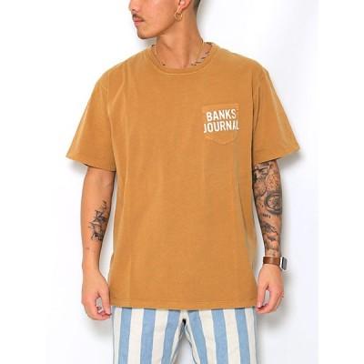 バンクス BANKS ポケットTシャツ メンズ ロゴ オーガニックコットン ブラウン M-XL SHORES HAWAII TEE SHIRT -TOFFEE-