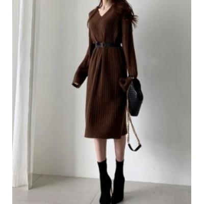 韓国 ファッション レディース ニットワンピース ひざ丈 Vネック ハイウエスト 長袖 カジュアル 大人可愛い きれいめ 秋冬