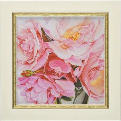 ユーパワー アートフレーム/植物・花 ピンク W19xH19cm