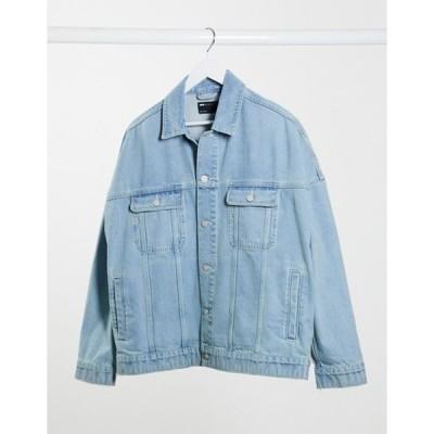 エイソス メンズ ジャケット・ブルゾン アウター ASOS DESIGN oversized denim jacket in light wash blue