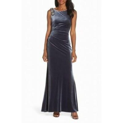 Vince ヴィンス ファッション ドレス Vince Camuto Womens Slate Gray Size 12 Embellished Velvet Ruched Gown