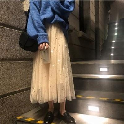 スパンコール メッシュ フェアリーロング チュールスカート