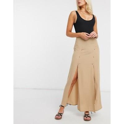 エイソス レディース スカート ボトムス ASOS DESIGN double split maxi skirt in light brown
