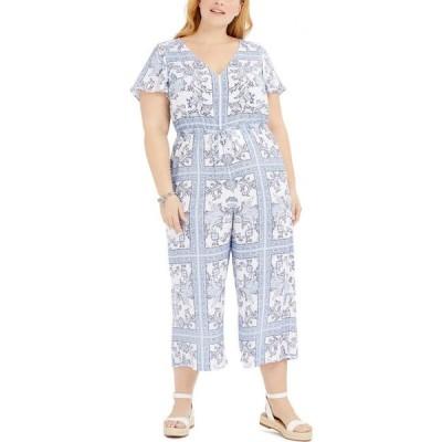 マイケル コース Michael Kors レディース オールインワン ジャンプスーツ 大きいサイズ ワンピース・ドレス Plus Size Paisley-Print Jumpsuit White