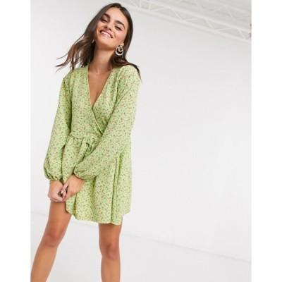 エイソス レディース ワンピース トップス ASOS DESIGN smock oversized mini wrap dress in green ditsy floral