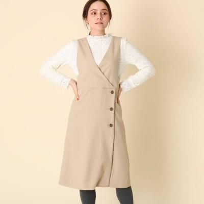クチュール ブローチ Couture brooch 【手洗い可】サイドボタンカシュクール風ジャンスカ (ライトベージュ)