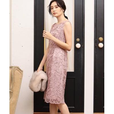 【アナイ】 チュール刺繍ノースリワンピース レディース ピンク 38 ANAYI