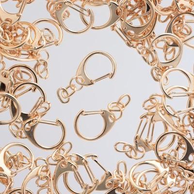 キーホルダー パーツ ゴールド 100個 KC金 フック チェーン付き ナスカン 金具 アクセサリー ハンドメイド 手芸  AP2134
