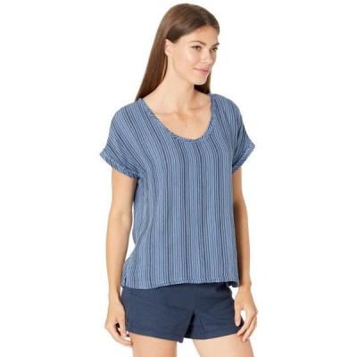 レディース シャツ トップス Garment Dye Stripe Gauze Short Dolman Sleeve Top