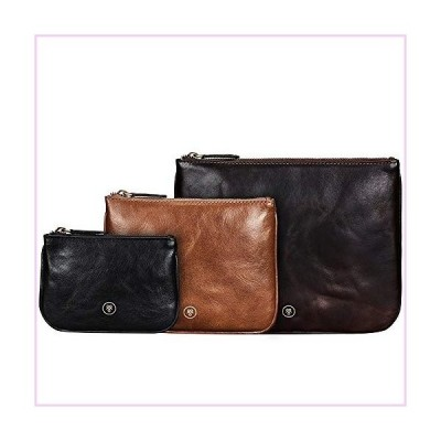 Maxwell Scott Set Of 3 Real Leather Flat Pouches - Siena Group Classic■並行輸入品■