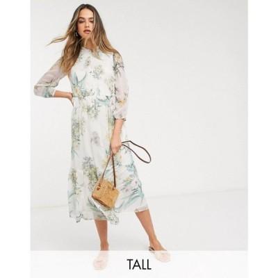 ヴェロモーダ Vero Moda Tall レディース ワンピース ミドル丈 ワンピース・ドレス Chiffon Midi Dress In Cream Floral マルチカラー