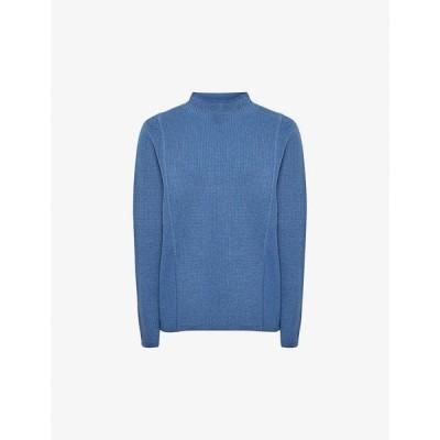 リース REISS レディース ニット・セーター トップス Marley high-neck stretch-knit jumper Blue