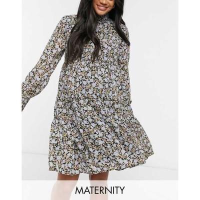 ピーシーズ マタニティ レディース ワンピース トップス Pieces Maternity high neck smock dress in ditsy floral Floral