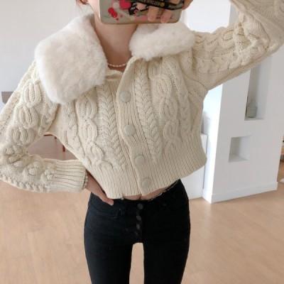 アウター ニット カーディガン ジャケット 羽織り ショート丈 ケーブル編み ファー 襟 レトロ ガーリー 韓国ファッション 大人可愛い きれいめ カジュアル