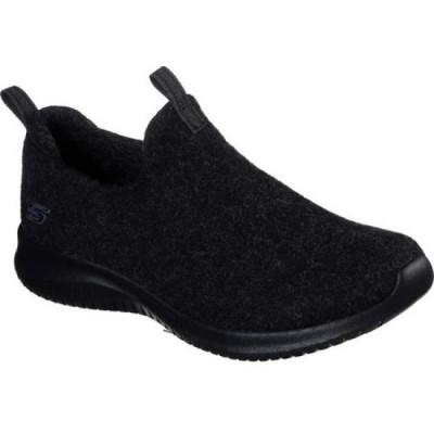 スケッチャーズ Skechers レディース スリッポン・フラット シューズ・靴 Wash-A-Wool Ultra Flex Little Cozy Slip-On Black/Black