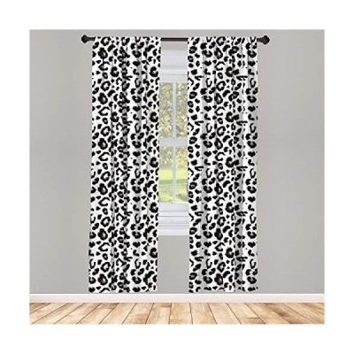 Ambesonne Leopard Curtains Monochrome Background Print with a Repetitive Sk