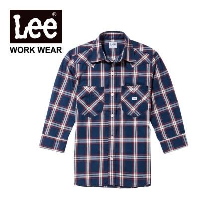 シャツ メンズ 七分袖 Lee (リー) メンズ ウエスタン チェック 七分袖 シャツ lcs46007