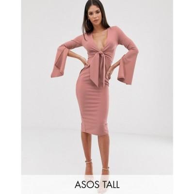 エイソス ASOS Tall レディース ワンピース ワンピース・ドレス ASOS DESIGN Tall long sleeve plunge tie belt midi dress Dusky pink