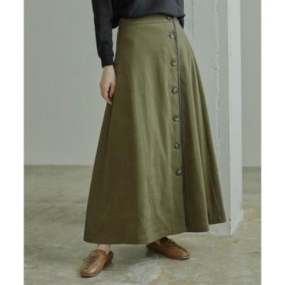 スカート フェイクスエードレザーパイピングスカート