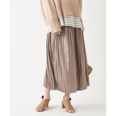 スカート 光沢のあるサテン生地が上品な印象 サテンプリーツスカート