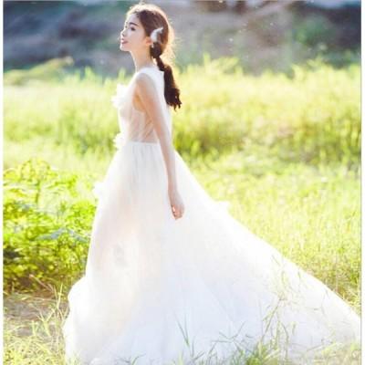ウェディングドレス パーティドレス レディース ワンピース チュール重ね 天使風 ブライダル花嫁 エレガント 結婚式 二次会 お呼ばれ 2枚送料無料