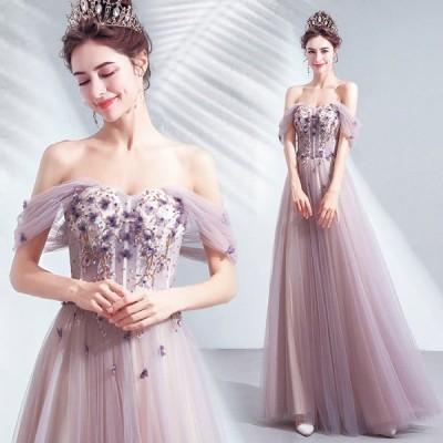 カラードレス ウェディングドレス ロングドレス パーティードレス 忘年会 成人式 演奏会用ドレス  花嫁 二次会 編み上げ 結婚式