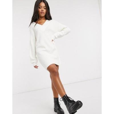 エイソス レディース ワンピース トップス ASOS DESIGN V neck chunky mini dress Cream