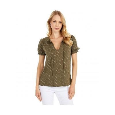 Lucky Brand ラッキーブランド レディース 女性用 ファッション ブラウス Printed V-Neck Blouse - Olive Multi