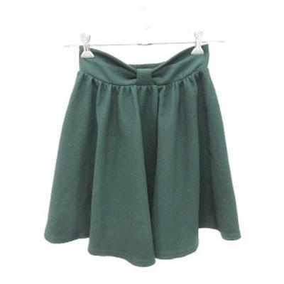 【中古】オリーブデオリーブ OLIVE des OLIVE スカート フレア ミニ リボン 緑 グリーン /CT レディース